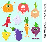 different funny vegetables in a ... | Shutterstock .eps vector #423543484
