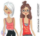 Set With Cute Vector Fashion...