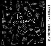 hand drawn doodles of gardening ...   Shutterstock .eps vector #423556315