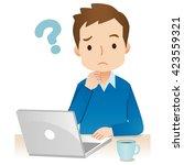 young man using laptop computer.... | Shutterstock . vector #423559321