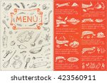 menu cover page and the menu... | Shutterstock .eps vector #423560911