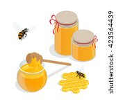 organic raw honey banner... | Shutterstock .eps vector #423564439