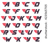 winged alphabet logos design... | Shutterstock .eps vector #423565705
