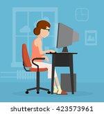 a woman uses a computer flat... | Shutterstock .eps vector #423573961