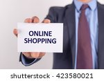 man showing paper with online... | Shutterstock . vector #423580021