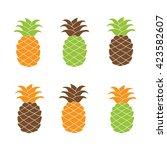 pineapple plant silhouette... | Shutterstock .eps vector #423582607