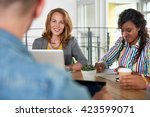 multi ethnic group of succesful ... | Shutterstock . vector #423599071