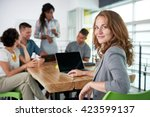 Stock photo image of a succesful casual business woman using laptop during meeting 423599137