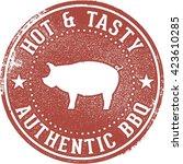 bbq barbecue pork menu stamp | Shutterstock .eps vector #423610285