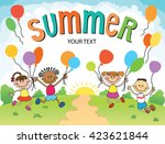 children are jumping  summer...   Shutterstock .eps vector #423621844