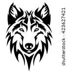 beautiful wolf tattoo.vector... | Shutterstock .eps vector #423627421