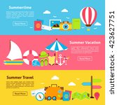 hello summer travel holiday... | Shutterstock .eps vector #423627751