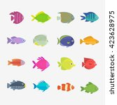 set of cute fish. vector... | Shutterstock .eps vector #423628975