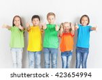 group of friendly childrens... | Shutterstock . vector #423654994