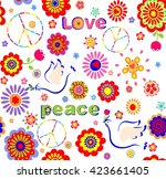 childish wallpaper with hippie... | Shutterstock .eps vector #423661405