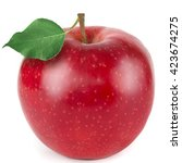red apple with green leaf... | Shutterstock . vector #423674275