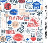 seamless pattern with fastfood... | Shutterstock .eps vector #423675337