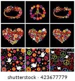 set of hippie seamless... | Shutterstock .eps vector #423677779