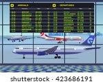 airport passenger terminal.... | Shutterstock .eps vector #423686191