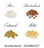 millet  buckwheat  oatmeal ... | Shutterstock .eps vector #423686227