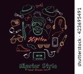 set of hipster style symbols... | Shutterstock .eps vector #423695491
