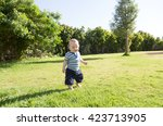 cute funny smiling baby making... | Shutterstock . vector #423713905