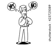man thinking yes or no | Shutterstock .eps vector #423725089