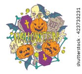 halloween card with pumpkins... | Shutterstock . vector #423733231
