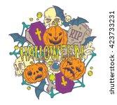 halloween card with pumpkins... | Shutterstock . vector #423733231