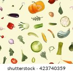 vegetables pattern on light... | Shutterstock .eps vector #423740359