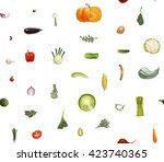 vegetables pattern on white  ... | Shutterstock .eps vector #423740365