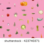 vegetables pattern on pink  ... | Shutterstock .eps vector #423740371