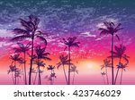 exotic tropical palm trees  at... | Shutterstock .eps vector #423746029