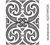 polynesian maori tribal tattoo... | Shutterstock .eps vector #423749524