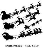 Silhouette Illustration of Flying Santa - stock vector