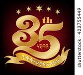 35 years anniversary   golden... | Shutterstock .eps vector #423755449