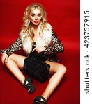 sensual beautiful blonde woman...   Shutterstock . vector #423757915
