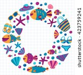 vector flat hand drawn icons...   Shutterstock .eps vector #423759241