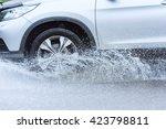 Motion Car Rain Big Puddle Of...