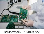 microchip production factory.... | Shutterstock . vector #423805729