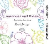 vintage floral card with garden ... | Shutterstock .eps vector #423810001