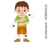 boy was stabbed in the mosquito | Shutterstock .eps vector #423810121