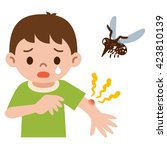 boy was stabbed in the mosquito | Shutterstock .eps vector #423810139