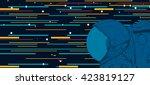 astronaut in space. vector... | Shutterstock .eps vector #423819127