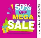 mega sale color banner. vector... | Shutterstock .eps vector #423826039