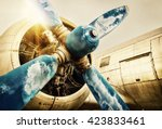 propeller of an old airplane   Shutterstock . vector #423833461