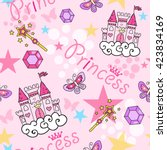 princess seamless pattern for... | Shutterstock .eps vector #423834169