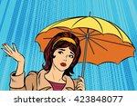 beautiful sad girl in rain with ... | Shutterstock .eps vector #423848077