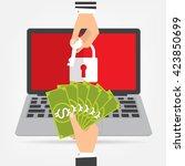 businessman hand holding money...   Shutterstock .eps vector #423850699
