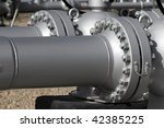 Close detail of pipe flanges from an LPG station. - stock photo